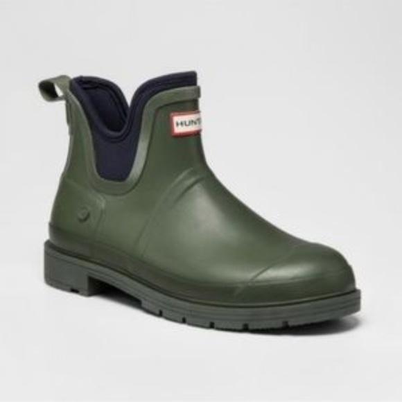 63ee297e5ec Hunter Target Ankle Rain Boot Mens Olive Green New NWT